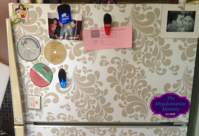 Magnets hard at work, DIY Refrigerator Makeover, Duck Tape