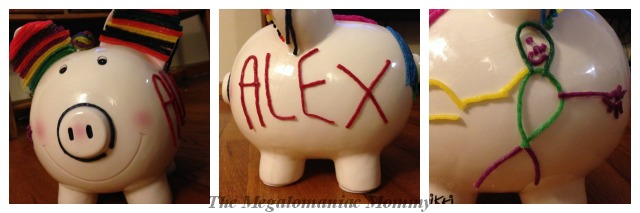 Wikki Stix Designer Piggy Bank Completed
