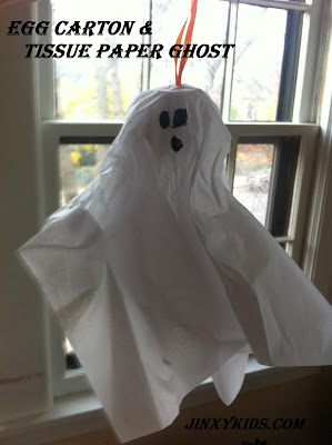 Egg Carton & Tissue Paper Ghost from Jinxy Kids