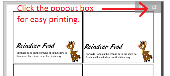 Reindeer Food Label Popout Box