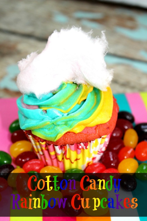Cotton Candy Rainbow Cupcakes