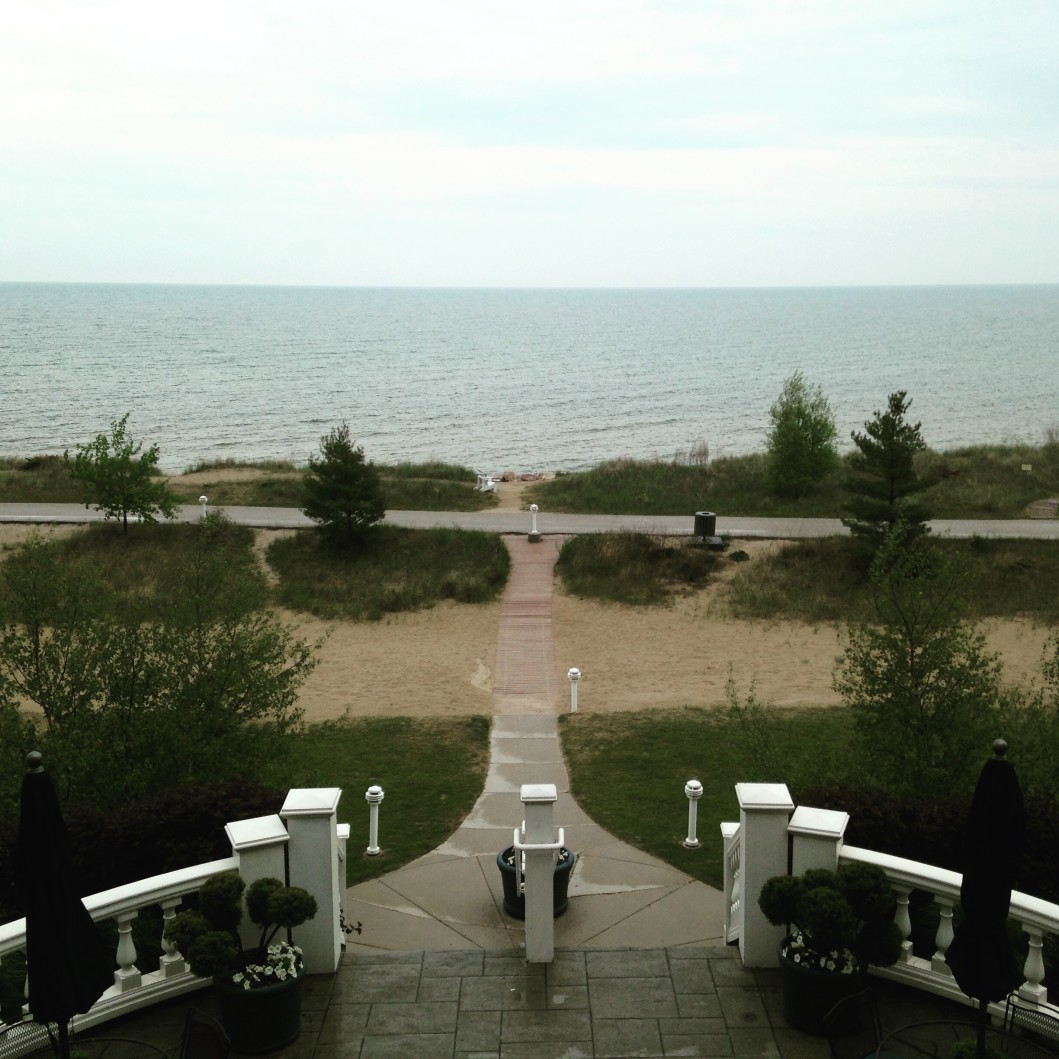 View of Lake Michigan from the patio at Blue Harbor Resort & Spa Sheboygan Wisconsin
