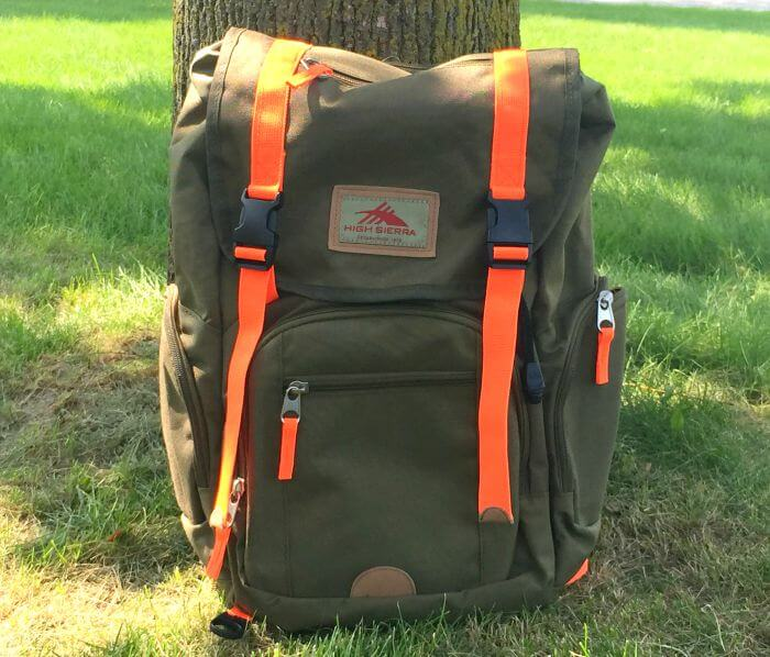 High Sierra Emmett Backpack Moss and Electric Orange
