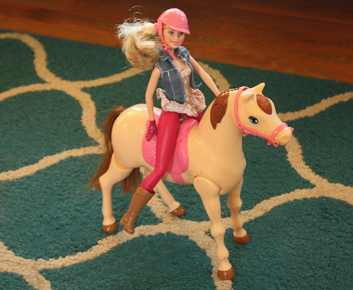Barbie Saddle 'N Ride Horse all saddled up