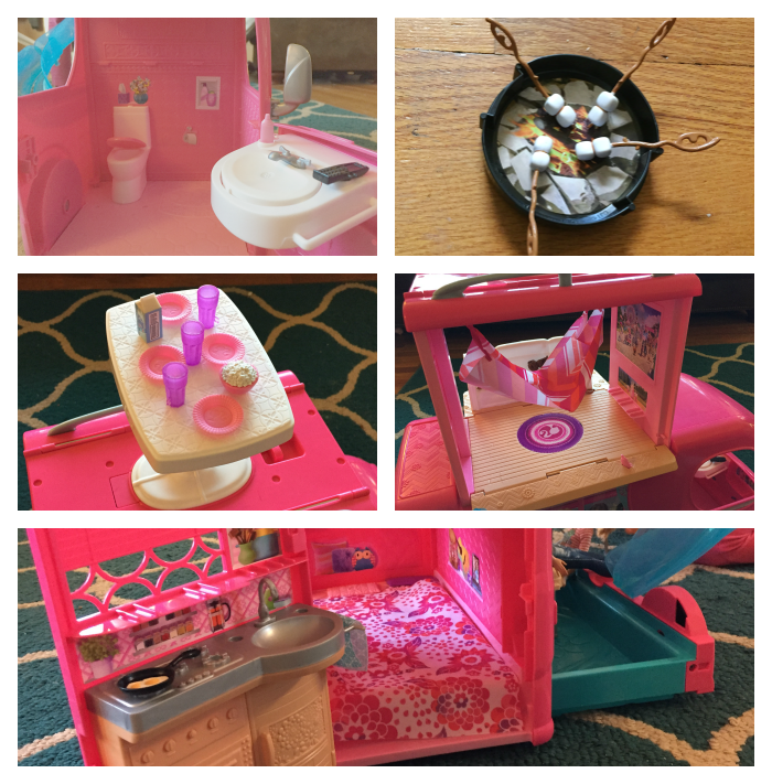 barbie pop-up camper inside