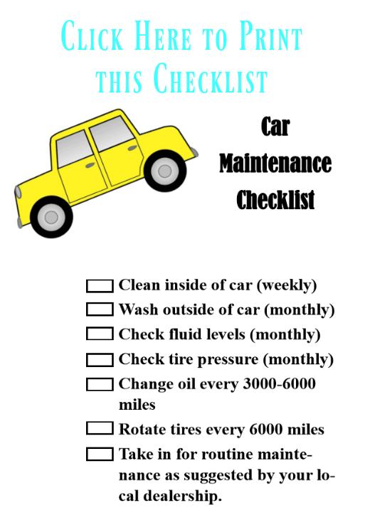 Car Maintenance Checklist Clickable Image