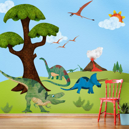Create a unique space with my wonderful walls the for Dinosaur mural kit